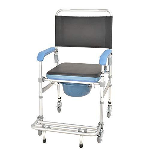 YQQWN Toilettenstuhl Mit Rollen, Toilettensitz Für Ältere Und Behinderte WC Sitz rutschfest, Ergonomischer Sitz Mit Armlehnen, Faltbar - Höhenverstellbare - rutschfeste Fußstütze