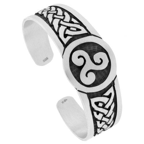 Sterling Silver Celtic Knot Cuff Bracelet Triskele Triple Spiral Symbol Handmade 7.25 inch