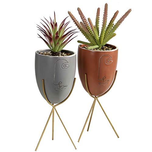 TERESA'S COLECTIONS - Juego de 2 macetas decorativas de cerámica con soporte de hierro talladas para dormitorio, oficina, sala de estar