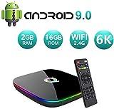 Android 9.0 TV Box,HOMI Q Plus Android Box 2GB RAM/16GB ROM H6 Quad-Core Soporte 2.4Ghz WiFi 6K HDMI DLNA 3D 2.4GHz WiFi Ethernet USB 3.0 Media Player