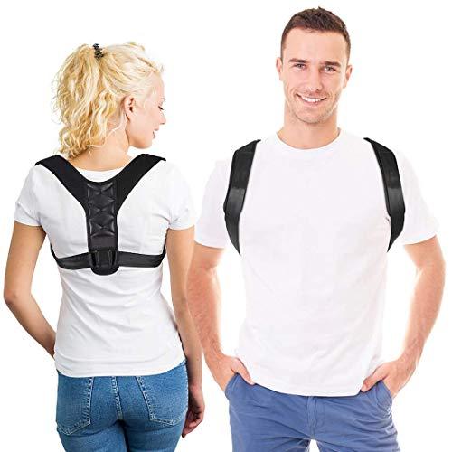 APGTEK Posture Corrector Ergonomico para Hombre y Mujer, Corrector de Postura Espalda y Hombro Aliviar la Joroba y Dolor Longitud Ajustable. Tamaño M