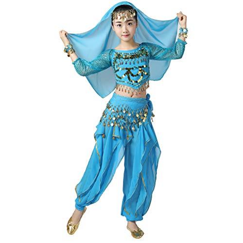 Magogo Bauchtänzerin Kostüm Outfit 6pcs Kit für Mädchen, Kinder Arabian Princess Indian Dance Chiffon Kleidung Anzug (L, Hellblau)