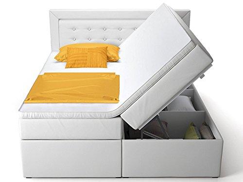 Boxspringbett mit Bettkasten Schubkasten weiß schwarz Celia Doppelbett Hotelbett Taschenfederkern Topper (160x200cm, Weiß)
