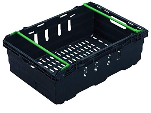 10x 44 Litre Stacking & Nesting Crate Ventilated Crate/Supermarket Storage (600x400x199mm) in Black