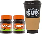 Sanka Decaf Instant Coffee 2 Ounce Jars (Pack of 2) with By The Cup Travel Mug