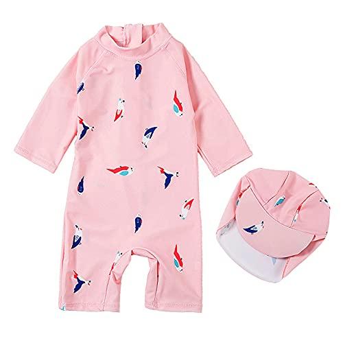 TURMIN Niños Niñas Traje de Baño de Una Pieza con Sombrero para El Sol Niños UPF 50+ Proteccion Solar Traje de Neopreno para Bebés Bañadores de Natación Ropa de Baño-Pájaro-XS