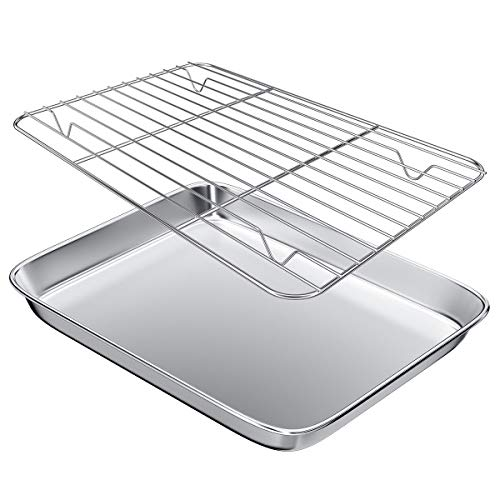 Gtmkina Toaster Oven Pan Tray with Cooling Rack,Stainless Steel Toaster Oven Baking Pan and Cookie Sheet for Baking and Roasting,Rectangle Size 9' x 7' x 1',Mirror Finish & Anti-Rust,Thick & Sturdy