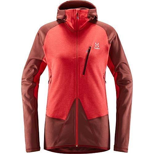 Haglöfs Damen Fleece Spire Mid Hood S Rot (Maroon red/Hibiscus red)