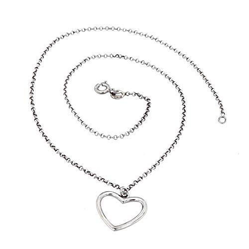 MAGICMOON - Mod. VTP10000552 - Raffinata collana da donna a catenella in argento 925 rodiato color argento con ciondolo a forma di cuore vuoto al centro