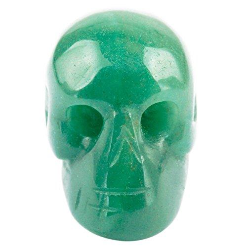 Rockcloud Healing Crystal Stone Human Reiki Skull Figurine Statue Sculptures Green Aventurine 1'