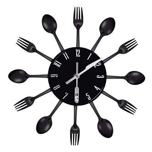 AWJ Home Decorations Geräuschlose Stahl Besteck Uhren Messer und Gabel Löffel Wanduhr Küche Restaurant Home Decor