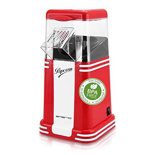 Emerio Popcornmaschine, Popcorn Maker, leckeres Popcorn für Zuhause, schnell und einfach selbst gemacht, 60g Mais pro Durchgang, 1.200 Watt, einfache Reinigung, Heißluft Technologie, BPA frei