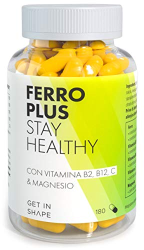 Ferro Plus - 180 capsule integratori di ferro con vitamina b12, vitamina c e magnesio da Get in Shape