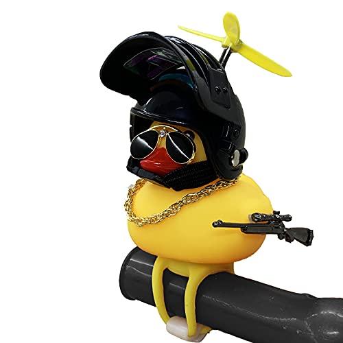 Shermosa Pato de Goma para Bicicleta con Casco Patito de Goma Baño Bebe Luz Bicicleta Pato Timbre Bocina Bici para Niño y Niña Negro