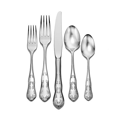Liberty Tabletop Martha Washington 65-piece 18/10 Flatware Set service for 12, Includes Serving Pieces Made in USA