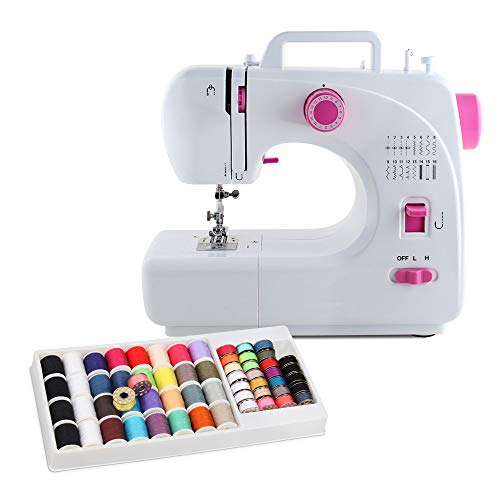 NEX Máquina de Coser portátil Pedal Mini máquina de Coser con 60 Piezas de Hilo de Coser Conjunto de 16 programas de Costura para niños Principiantes