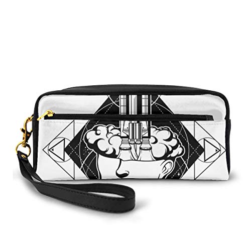 Pencil Case Pen Bag Pouch Stationary,Science Monochrome Illustration with Rocket Flying from A Head of Woman,Small Makeup Bag Coin Purse