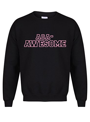Unisex Slogan Sweater Jumper ACA Awesome Black Large with Pink
