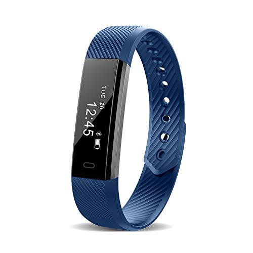 XUEMEI Paso Cuenta Inteligente Pulsera Banda Muñequera Reloj Silicona Bluetooth Simple Deporte Mensaje Push Sleep Prueba De La Actividad Portátil Registro (Color : Blue Standard)