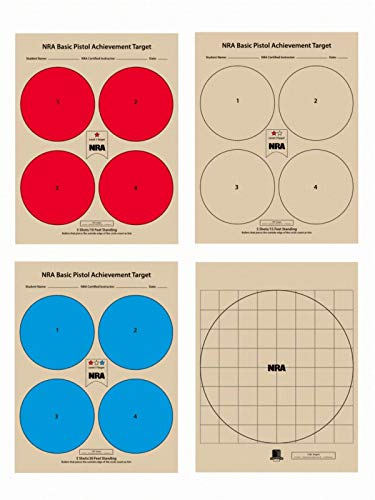 The NRA Pistol Qualification Targets, 100 Target Pack, 25 of Each Target Design
