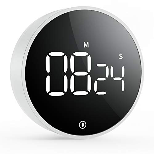 VOCOO Minuterie de cuisine numérique , minuterie de compte à rebours magnétique, volume à 3 niveaux, aimant puissant, 2 coussinets antidérapants, grand écran LED, pour le travail à domicile en classe