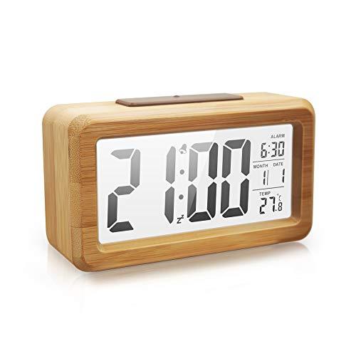 Vihimi Sveglia sul letto, sveglia digitale in legno non ticchettio, luminosità regolabile per comodino, scrivania, mensola