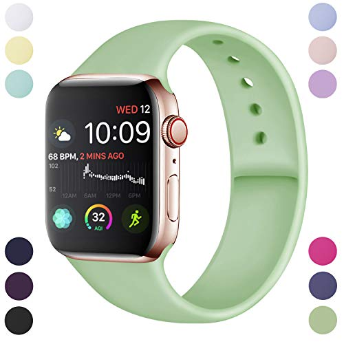 Hamile Cinturino Compatibile con Apple Watch 42mm 44mm, Cinturini Sportiva in Morbido Silicone di Ricambio per Apple Watch Series 5/4/3/2/1, S/M Menta Verde