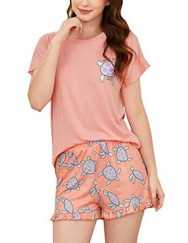 Hotouch Pijama corto de verano para mujer, diseño de dibujos animados, camiseta y pantalón corto, dos piezas, tallas S-XXL Rosa. M