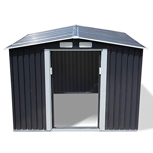 Storage Sheds 8x6, Galvanized Steel Outdoor Sheds & Outdoor Storage for Garden Patio Backyard, Utility Metal Storage Sheds with Gable Rood and Sliding Door (Grey)