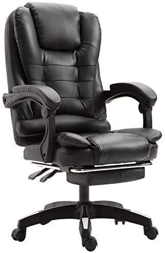 Silla ejecutiva para oficina, escritorio, tarea, silla para computadora, giratoria ergonómica y ajustable, escritorio y silla para computadora, altura del asiento ajustable, con pedales, rotación de 3