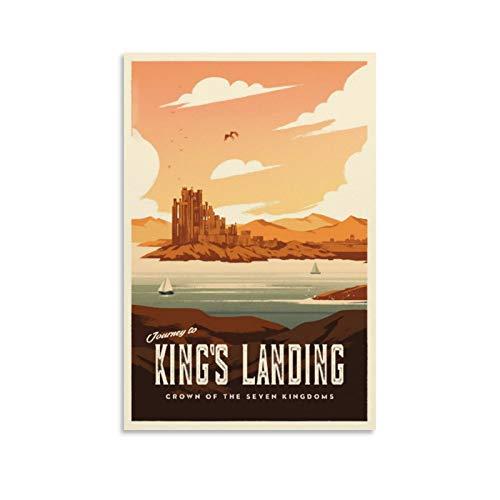 HUAIREN Póster retro de viaje de King's Landing GOT – Juego de Tronos – Póster vintage impresión de lienzo para decoración de habitación familiar, dormitorio o baño, póster estético 30 x 45 cm