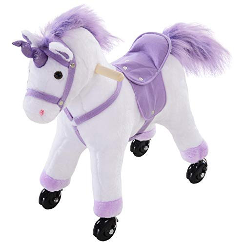 HOMCOM Kids Plush Toy Ride on Walking Unicorn Horse Rolling Pony w/Realistic Sound Sit-On Unicorn Ride On Toy Rocker with Handlebar for Age 3+ Purple