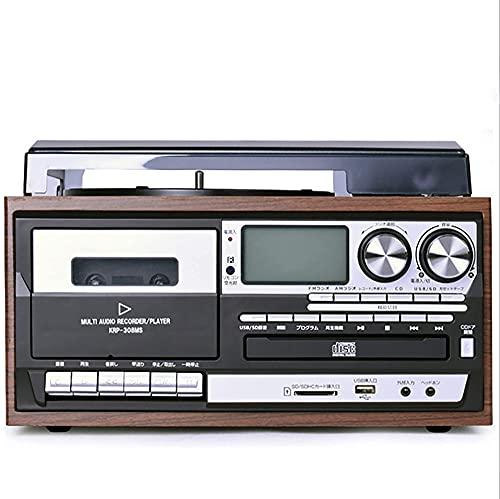 SXLCKJ Tocadiscos, Tocadiscos Bluetooth Tocadiscos de Vinilo Gramófono Vintage Grabador USB de 3 velocidades CD multifunción Radio Phon