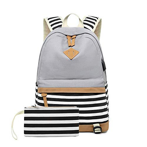Girls Canvas School Backpack with USB Charging Port Casual Stripe Backpack for Teen Boys (Grey)