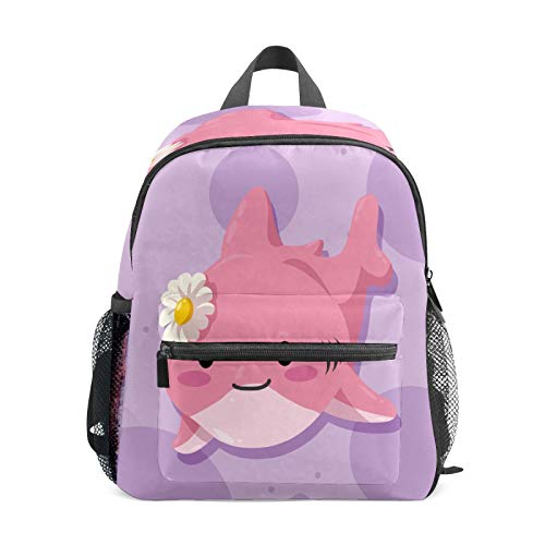 Kids Backpack Preschool Kids School Bag Boy Girl Lightweight Shoulder Book Bag for 1-6 Years Old Perfect Back Pack for Toddler to Kindergarten Pink Cute Shark Baby with Daisy Purple