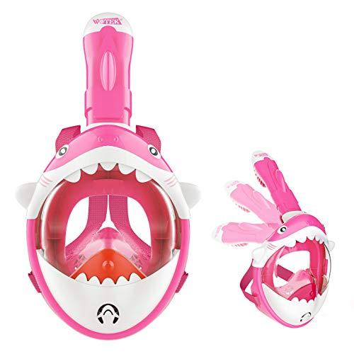 ISUDA Schnorchelmaske Vollmaske,Tauchmaske für Kinder,Faltbare Vollgesichtsmaske mit 180° Sichtfeld und Kamerahaltung - Full Face Snorkel Mask, Anti-Beschlag, Anti-Leck und Wasserdicht