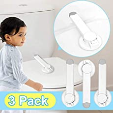 3 Pack Baby Proofing Toilet Lock, Easy Installation with Adhesive Toilet Lid Seat Locker Fits Most Toilets Bathroom Child Safety Locks Automatic for Toddler Kids Pets