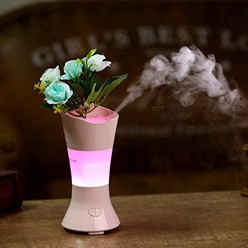AIBAB Nueva Creativa Mini Hada De Flores Aromaterapia Humidificador Escritorio Arreglo De Flores Jarrón De Colores La Gran Capacidad del Purificador De Aire Silencioso De La Noche Dura 6 Horas,Pink