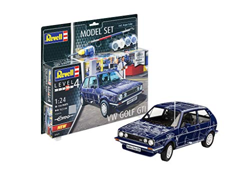 Revell 67673 Model Set VW Golf GTI Builders originalgetreuer Modellbausatz für Fortgeschrittene, mit Basis-Zubehör, unlackiert
