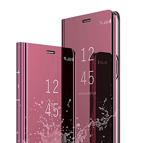 Hülle Kompatibel mit Samsung Galaxy S8 Hülle Handyhülle Spiegel PU Leder Flip Handy Hülle Clear View PC Standfunktion Schutzhülle für Samsung S8 Roségold
