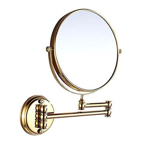 Eridanus, Bad Wandspiegel, Make-Up Kosmetik Spiegel, 3x Fach Vergrößerung, Goldfarbe