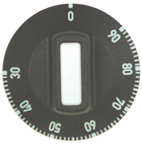 Knebel für Thermostat ø 50mm Symbol 30-90°C für Achse ø 6x4,6mm mit Abflachung oben schwarz Drehwinkel 310° max. Temperatur 90°C