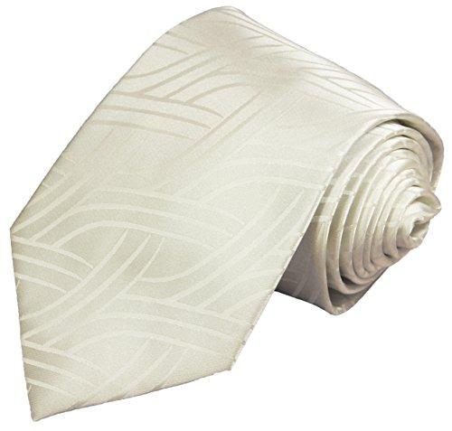 Paul Malone Krawatten Set 2tlg Krawatte + Einstecktuch ivory elfenbein Hochzeitskrawatte Bräutigam