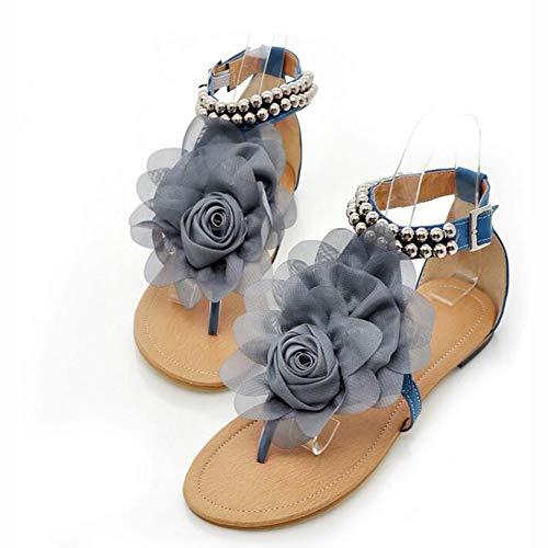 QY Hausschuhe Frau Sommer- Strand Tanga Sandalen Flip Flops Frau Blumen Eben Personalisierte Krawatten Bewegung Keile Hausschuhe (Color : Blue, Size : EU39/UK6.5/CN40)