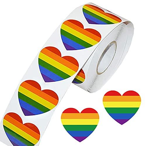 500 Piezas Pegatinas del Orgullo Gay Pegatinas Gay Pegatinas en Forma de Corazónde Colores Etiqueta Engomada del Arco Iris Pegatina en Forma de Corazón para el Apoyo de Gays Bisexuales Transgé