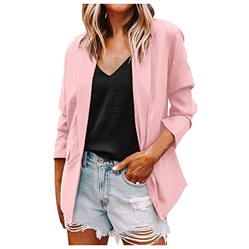 Women's Lapel Cardigan Blazer Open Front Roll Up Sleeve Office Jackets