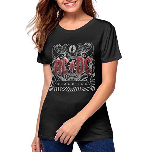 BAOQIN ACDC Black Ice Band Music Theme Sports - Camiseta de manga corta para mujer As Pic M