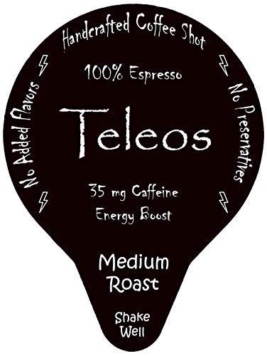 Espresso Coffee Shot Energy Boost - By Teleos, Ready to Drink Shots (20 Pods), Handcrafted, Black Unsweetened, Single Serve Pod