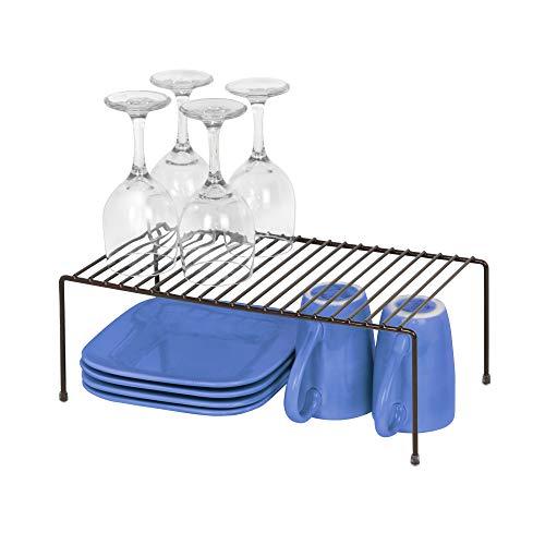 Smart Design Cabinet Storage Shelf Rack - Large (8.5 x 16 Inch) - Non-Slip Feet - Steel Metal Frame - Rust Resistant Coating - Cup, Dish, Counter & Pantry Organization - Kitchen [Bronze]