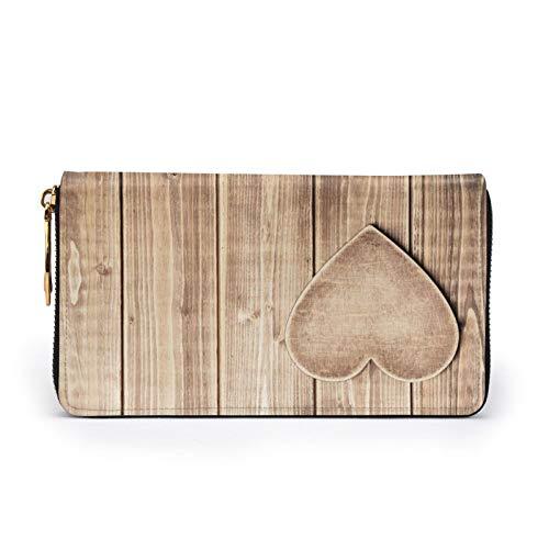 Corazón de madera impreso cuero cartera mujeres cremallera embrague bolsa viaje tarjeta de crédito titular monedero, Black (Negro) - Black-48